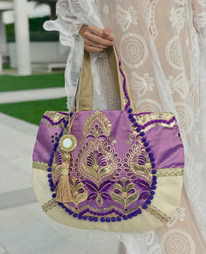 Omluxe Collection Medium Hobo - Purple & Gold (out of stock) - Omluxe Collection