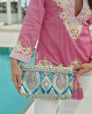 OmLuxe Collection Zip Top Clutch - Turquoise & Lavender - Omluxe Collection