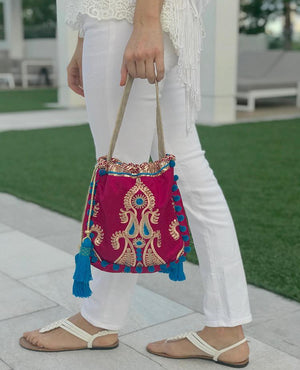 OmLuxe Collection Petite Banjara - Dark Pink & Blue (out of stock) - Omluxe Collection