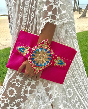 OmLuxe Collection Bracelet Clutch - Vibrant Pink & Gold - Omluxe Collection
