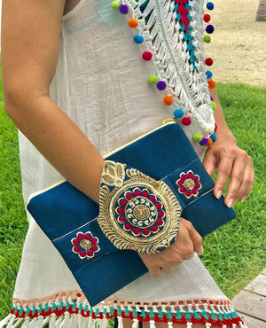 OmLuxe Collection Bracelet Clutch - Vibrant Blue & Silver - Omluxe Collection