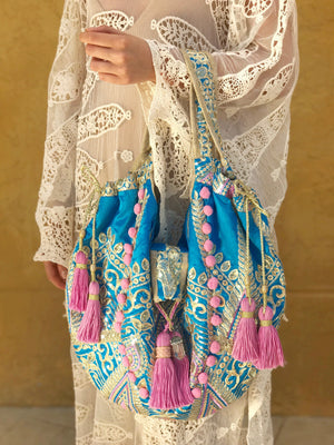 OmLuxe Collection Large Banjara - Turquoise & Lavender - Omluxe Collection