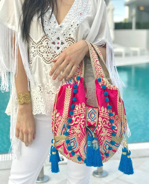 OmLuxe Collection Small Banjara - Vibrant Pink & Blue - Omluxe Collection