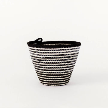 Black + White Stripe Medium Planter