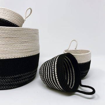 Black + White Rope Coil Bucket