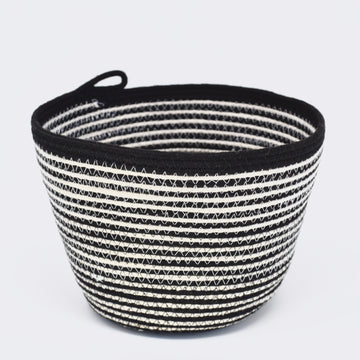 Black + White Stripe Small Bucket