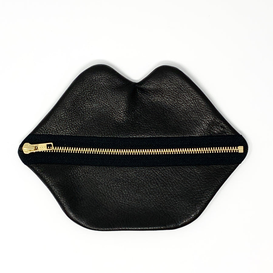 Large Black Leather Lips Bag