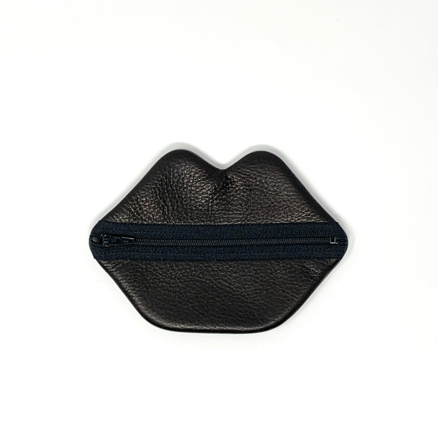 Small Black Leather Lips Bag