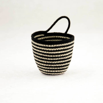 Black + White Stripe Mini Planter