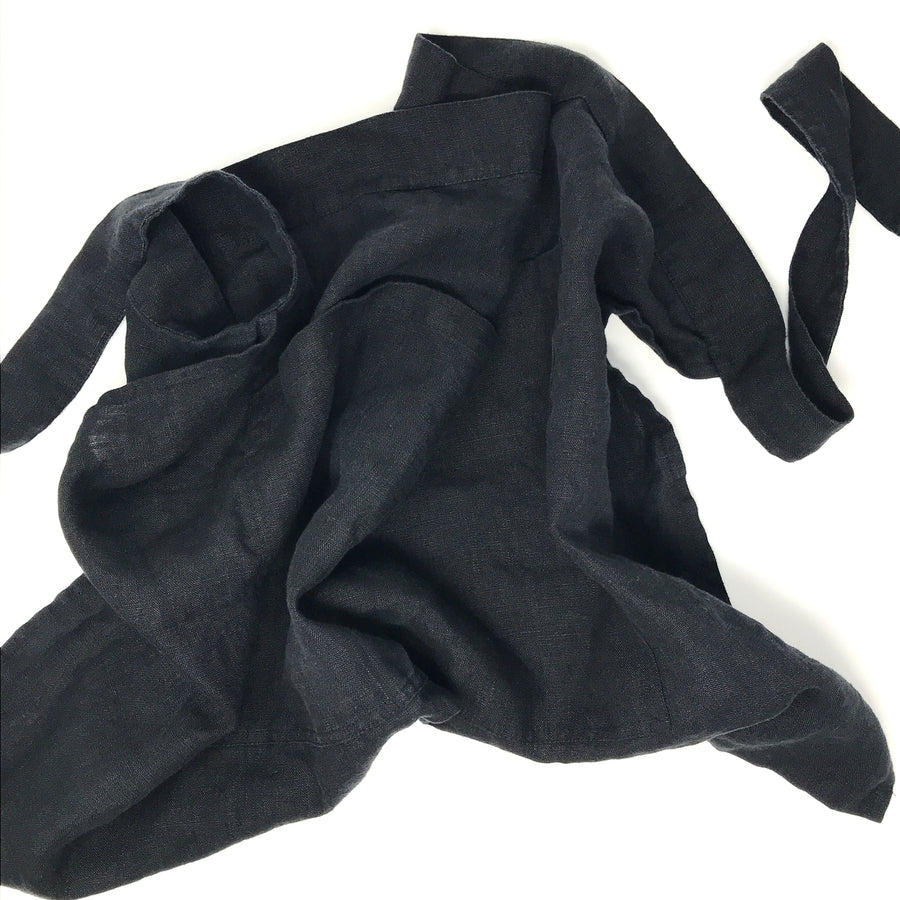 Black Linen Half Apron with Pocket