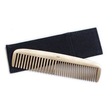 Brass Comb with Black Canvas Sheath
