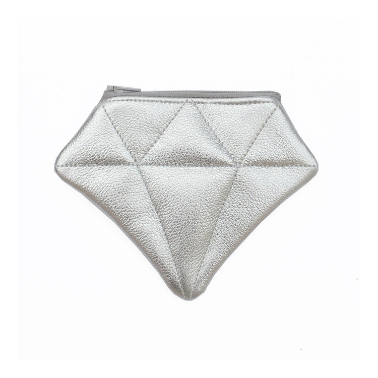 Small Silver Leather Diamond Bag