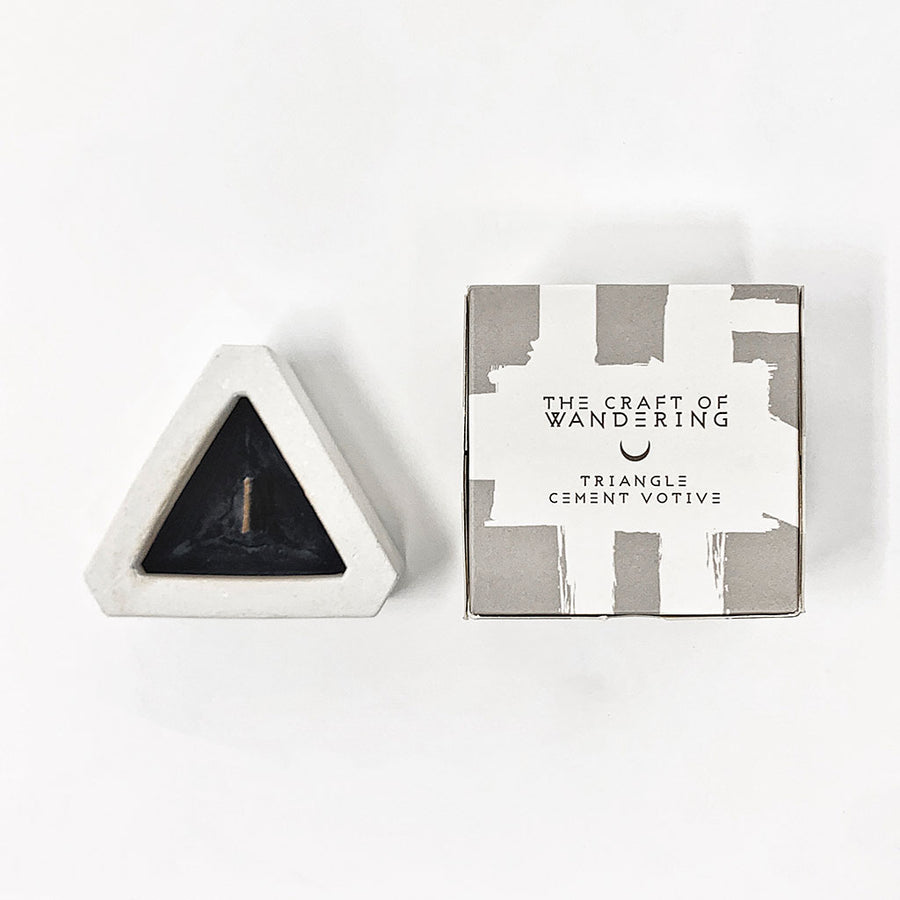 Black Lavender Triangle Cement Votive