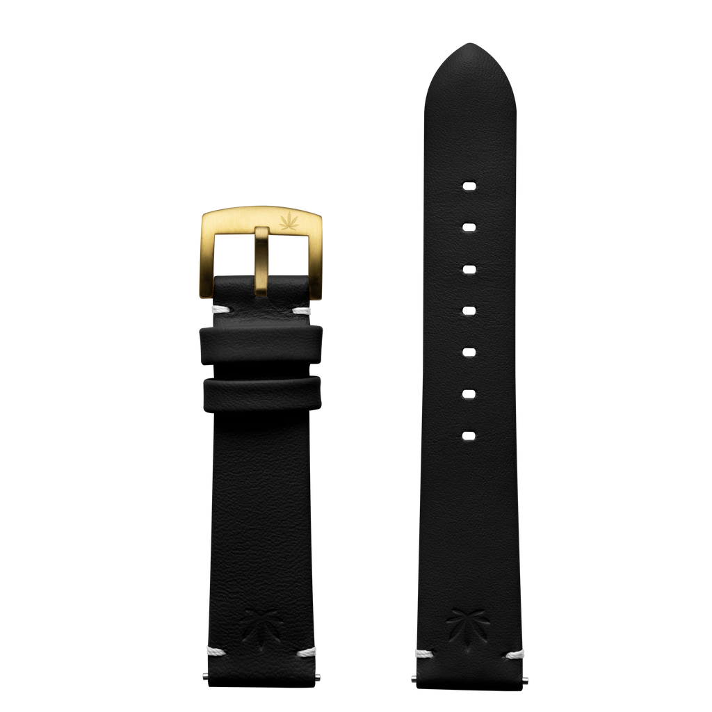 420Waldos Mary Jane Series Black Strap with IP Gold Plated Buckle