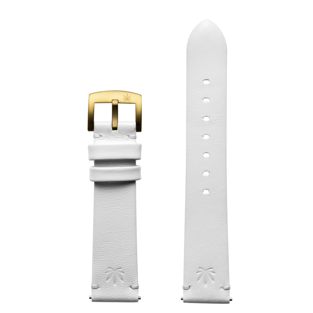 420Waldos Mary Jane Series White Strap with IP Gold Plated Buckle