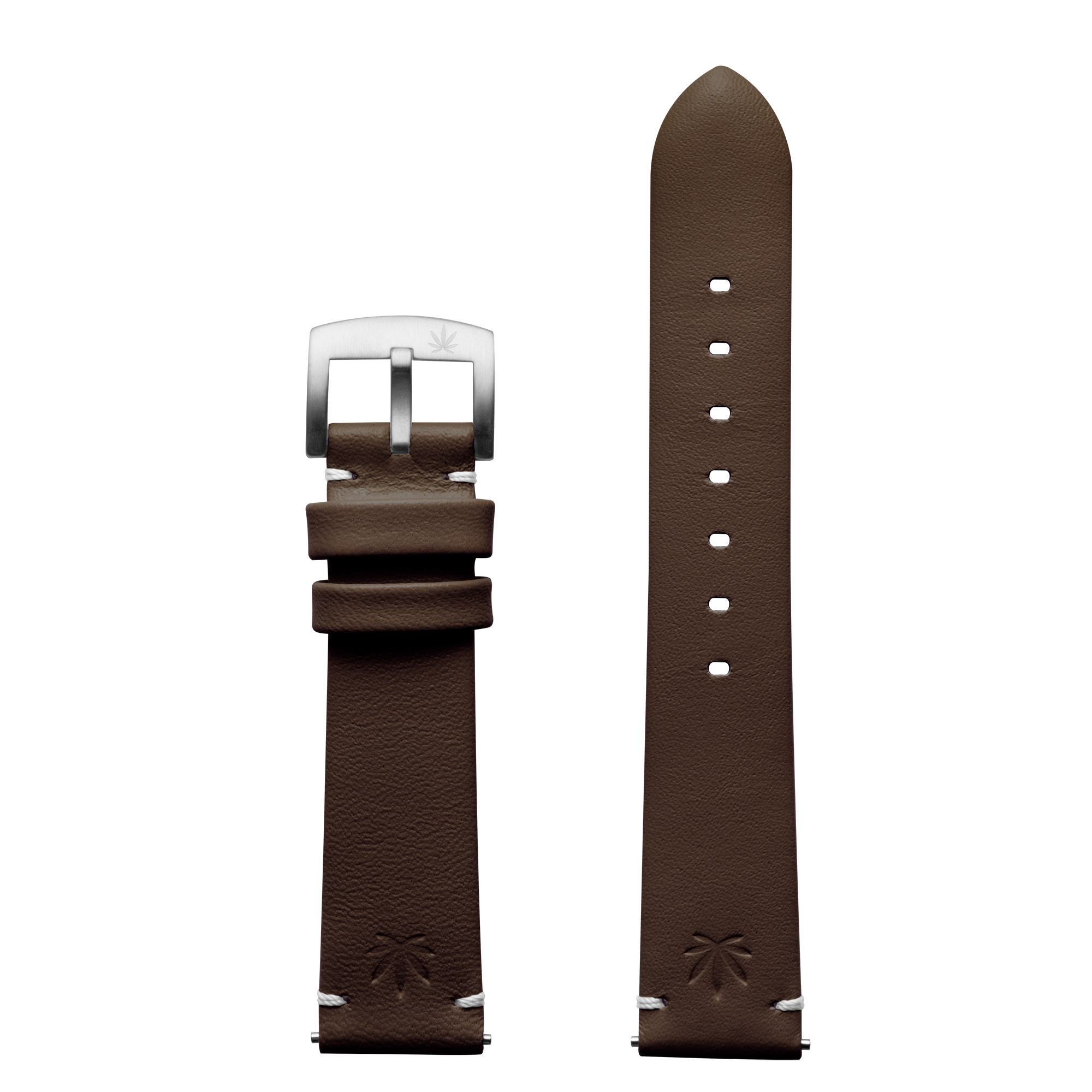 420Waldos Bud Series Dark Brown Strap with Brushed SS Buckle