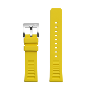 Hawaiian Lifeguard Replacement Strap Yellow/SS: 22mm Rubber (for 5400 series)