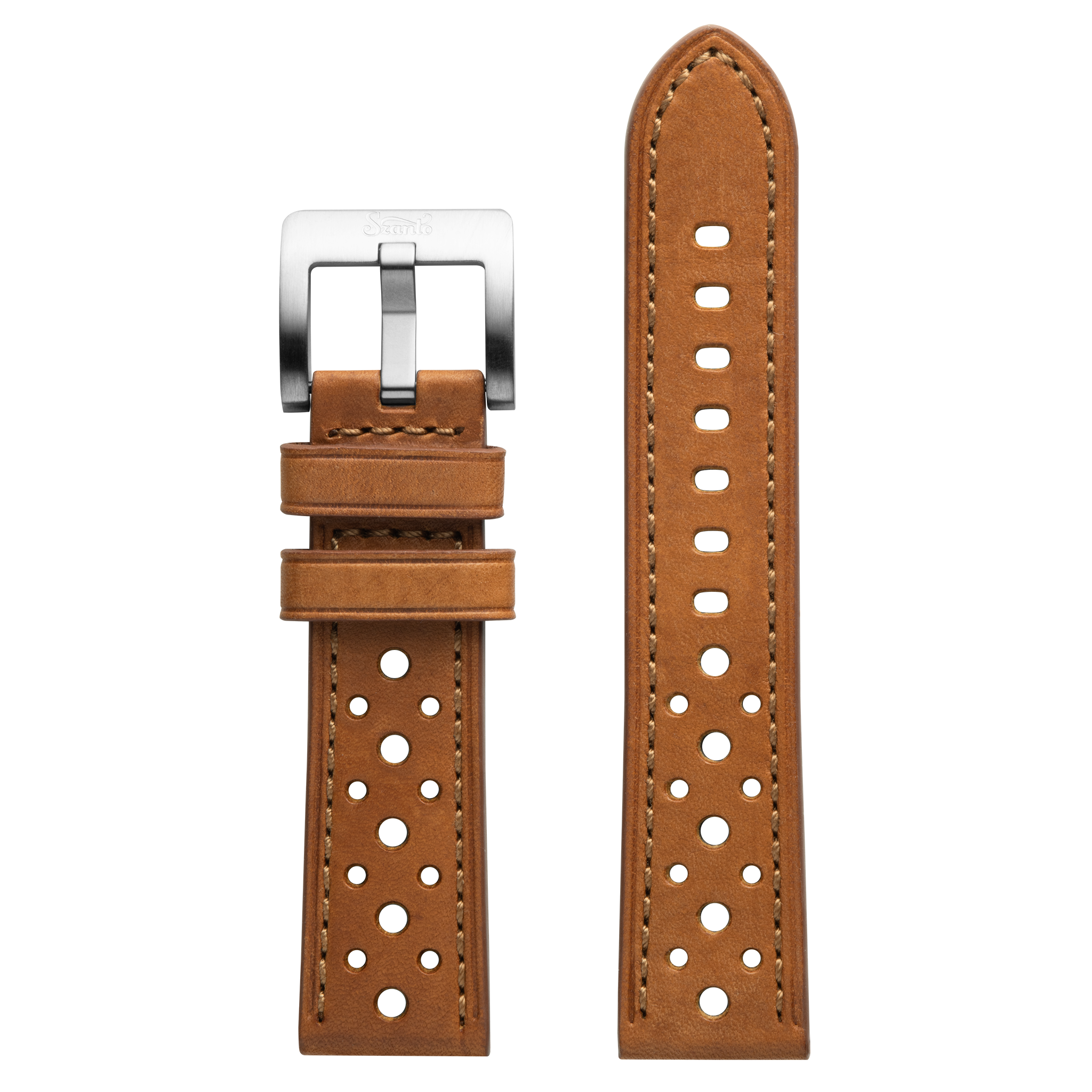 Szanto 22mm Tan Leather Strap/Stainless Steel Buckle - 3000 Series