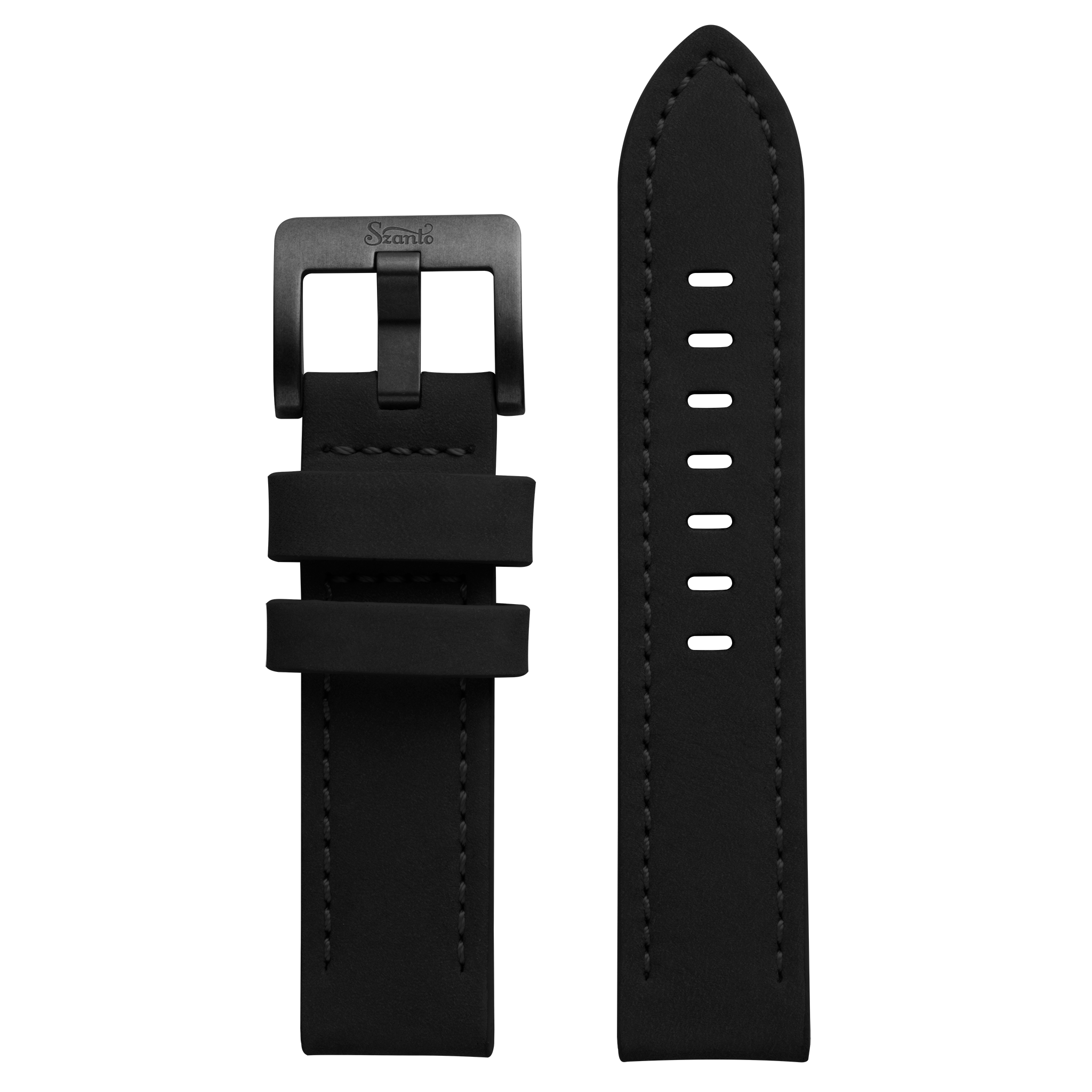 Szanto 22mm Black Leather Strap/Antique Silver Buckle - 4500 Series