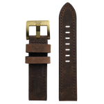 Szanto 22mm Dark Brown Leather Strap/Antique Gold Buckle - 4500 Series