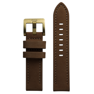Szanto 22mm Brown Leather Strap/Antique Gold Buckle - 4500 Series