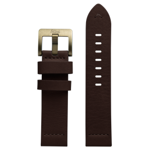Szanto 22mm Brown Waterproof Leather Strap/Antique Gold Buckle - 5200 Series