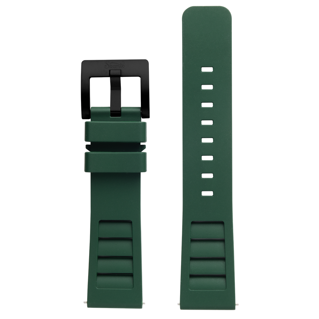 Szanto Icon 22mm Green Rubber Strap/Gun Gray Buckle - Shane Dorian 5300 Series
