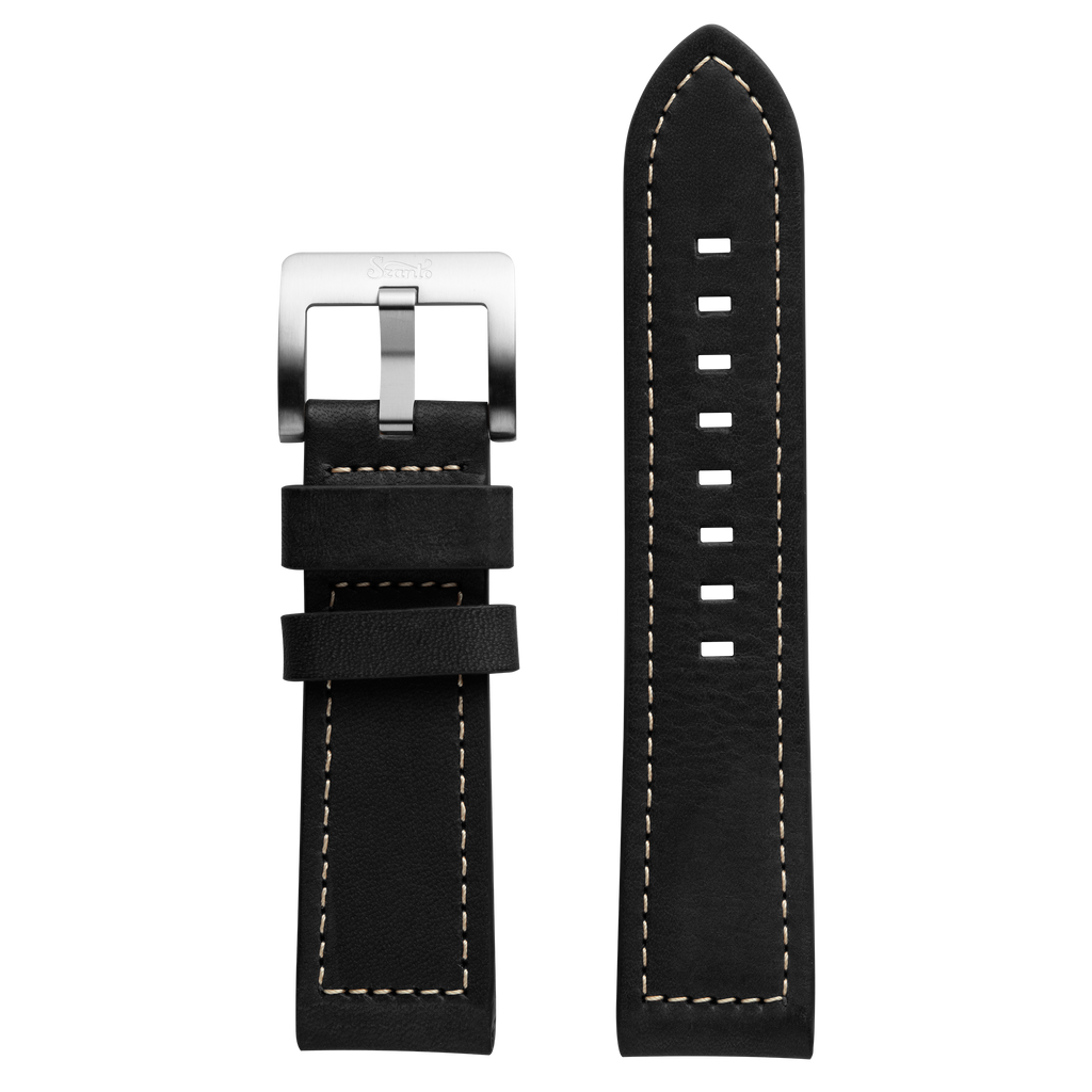 Szanto 24mm Black Leather Strap/Stainless Steel Buckle - 6100 Series
