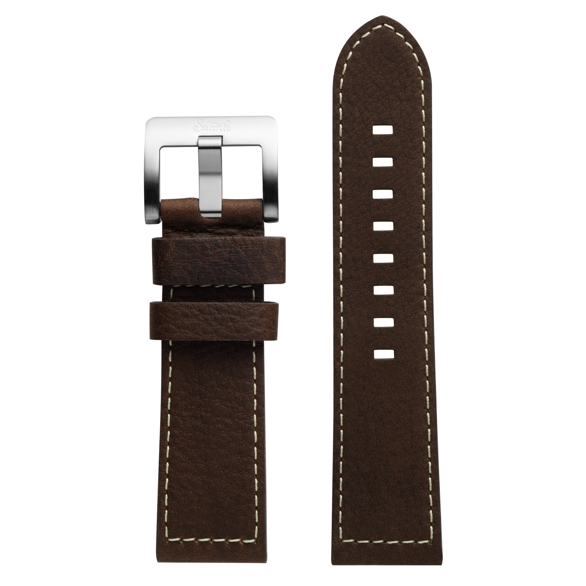 Szanto 24mm Brown Leather Strap/Stainless Steel Buckle - 6100 Series