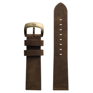 Szanto 22mm Brown Leather Strap/Antique Gold Buckle - 7000 Series