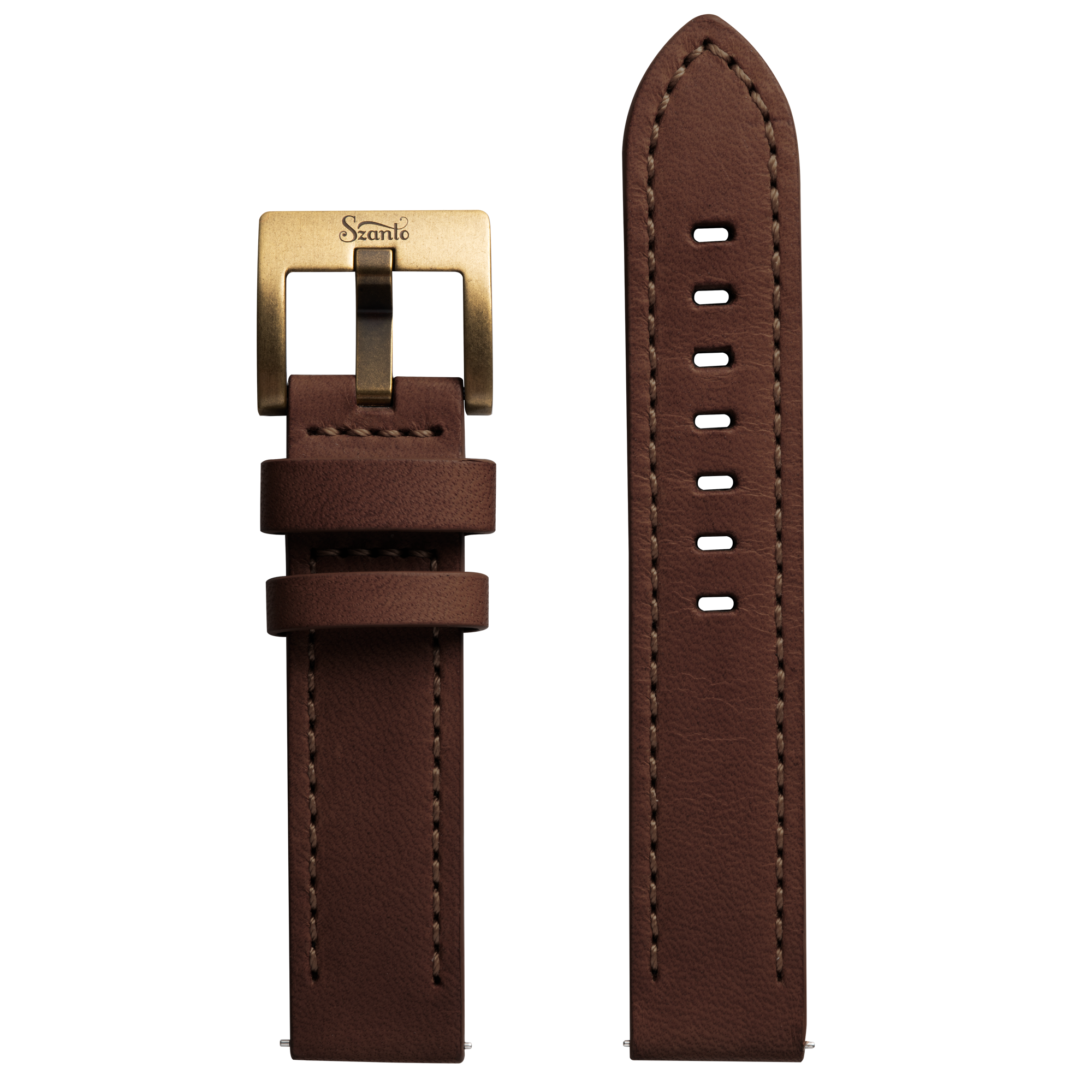 Szanto 20mm Brown Leather Strap/Antique Gold Buckle - 2750 & 4550 Series