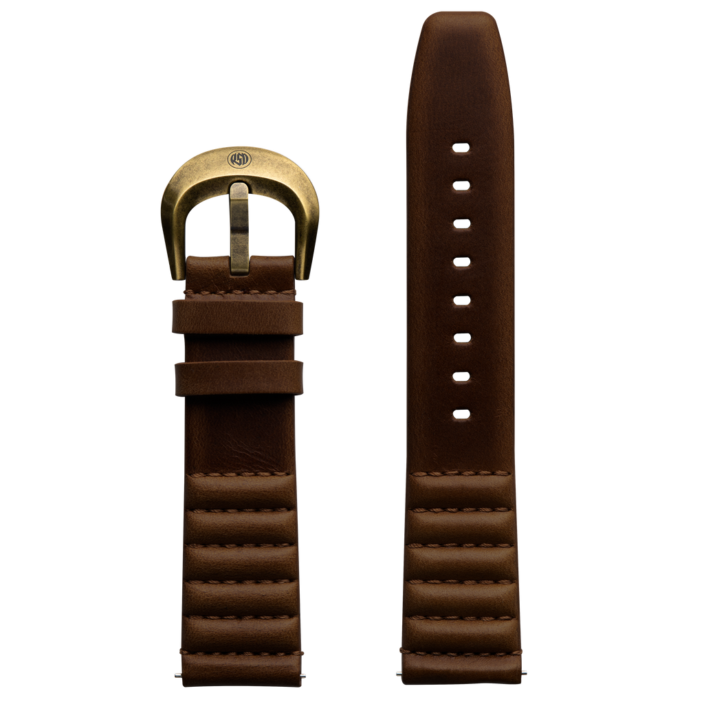 Szanto ICON 22mm Genuine Horween Leather Dark Brown Strap/Antique Gold Buckle - Roland Sands Series