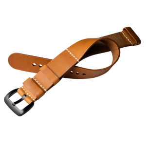 Szanto 22mm Tan Leather Nato Style Strap/Black Buckle - 1110 Series