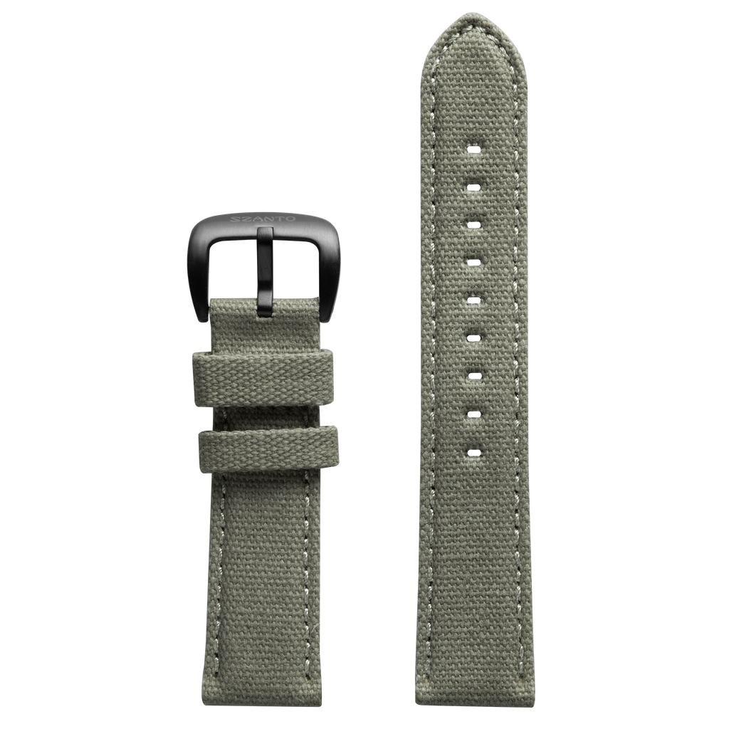Szanto 22mm Light Gray Canvas Strap/Black Buckle - 1000 Series