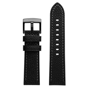 Szanto 24mm Black Leather Strap with Gray Stitch/Gun Gray Buckle - 2000 Series