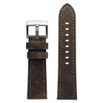 Szanto 24mm Black Leather Strap with Gray Stitch/Stainless Steel Buckle - 2200 Series