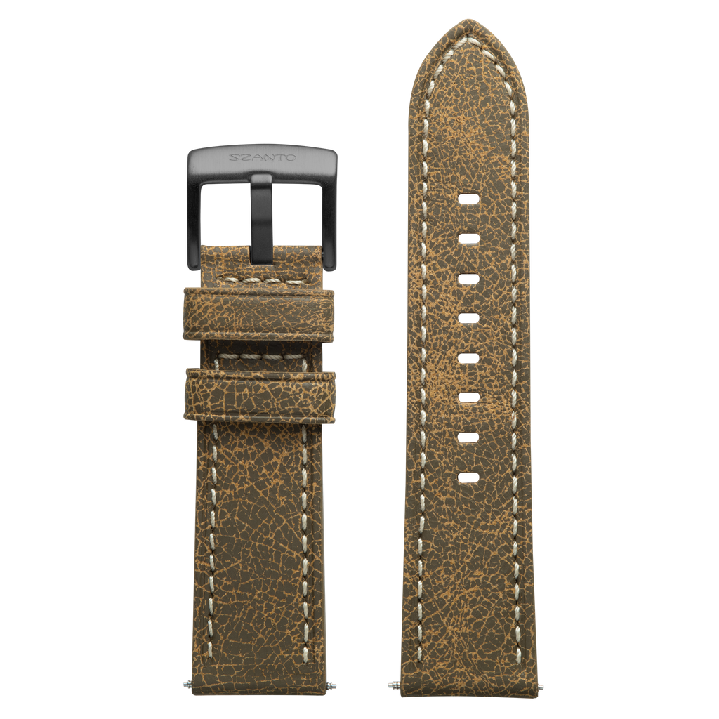 Szanto 24mm Brown Leather Strap with Cream Stitch/Gun Gray Buckle - 2200 Series