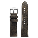 Szanto 24mm Black Leather Strap with Cream Stitch/Stainless Steel Buckle - 2600 Series