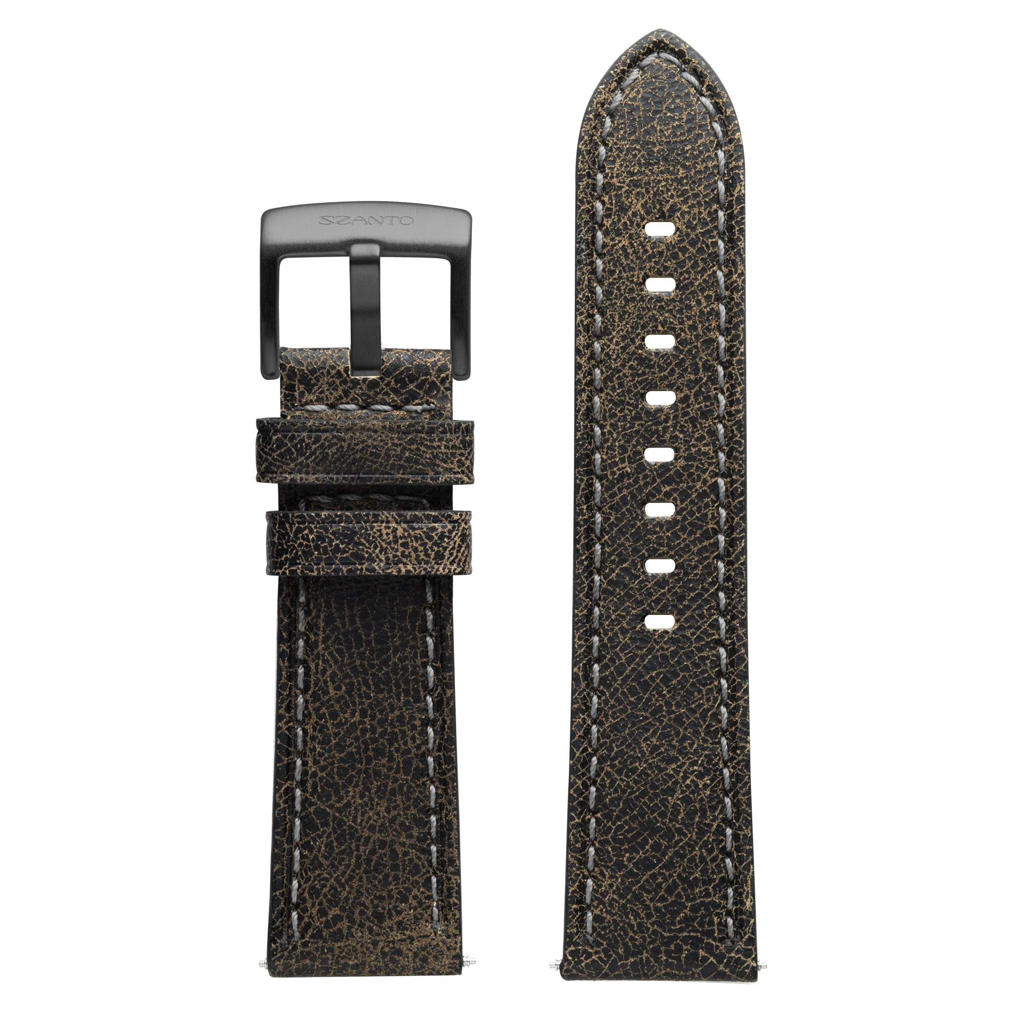 Szanto 24mm Black Leather Strap with Gray Stitch/Gun Gray Buckle - 2600 Series