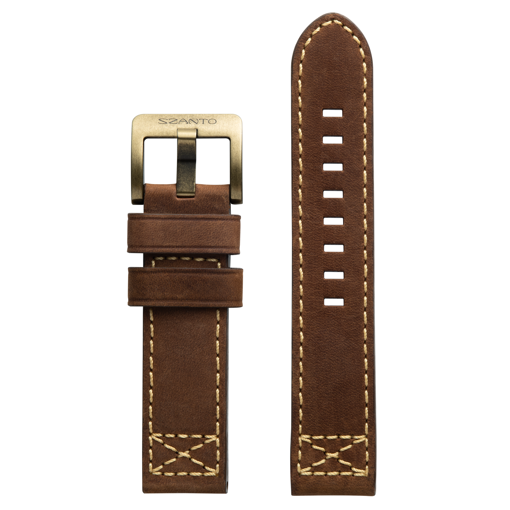 Szanto 22mm Brown Leather Strap/Antique Gold Buckle - 4000 Series
