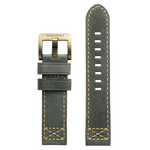 Szanto 22mm D. Gray Leather Strap/Antique Gold Buckle - 4000 Series