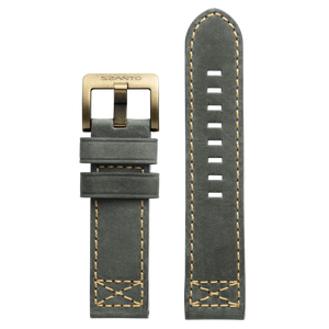 Szanto 24mm D. Gray Leather Strap/Antique Gold Buckle - 4100 Series