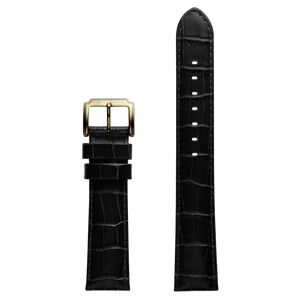 Szanto 20mm Black Leather Strap/Antique Gold Buckle - 4200 Series