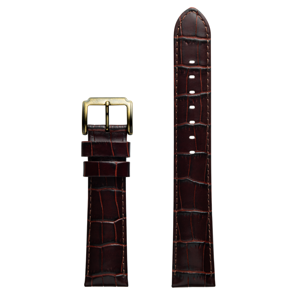 Szanto 20mm Burgundy-Brown Leather Strap/Antique Gold Buckle - 4200 Series