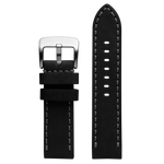Szanto 24mm Black Waterproof Leather Strap/Stainless Steel Buckle - 5100 Series
