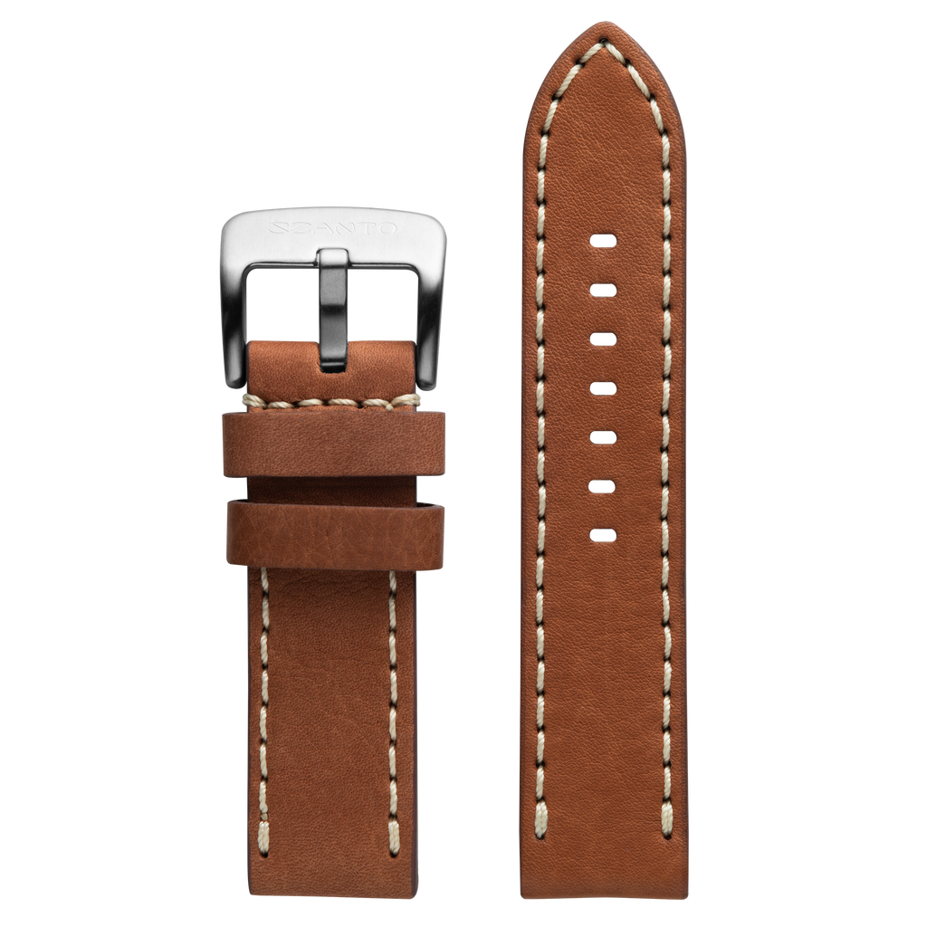 Szanto 24mm Tan Waterproof Leather Strap/Stainless Steel Buckle - 5100 Series