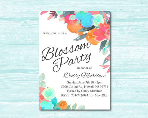 Blue, Orange and Pink Flowers Blossom Party Invitation, Boho, Spring/Summer Watercolor Invite, Floral Blossom Party Invitation, DIY Printable