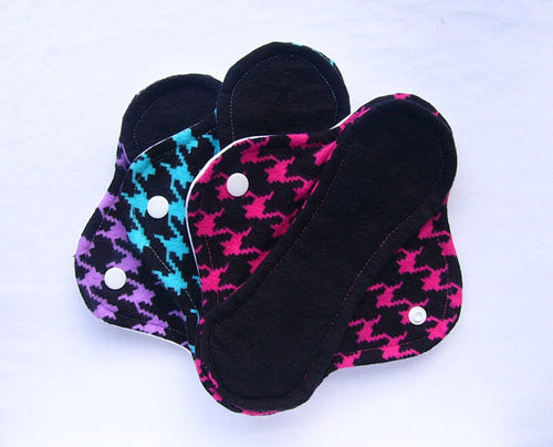 Houndstooth Print Set of 3 Light, Medium and Heavy Femeko Cloth Menstrual Pads - 8