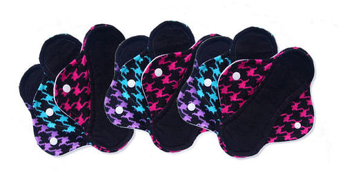 Houndstooth Print Set of 9 Light, Medium and Heavy Femeko Cloth Menstrual Pads - 8