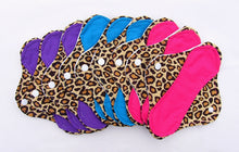 "Leopard Print Set of 9 Light, Medium and Heavy Femeko Cloth Menstrual Pads - 8"", 9"" or 10"" Pads"
